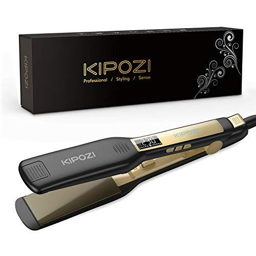KIPOZI Piastra Capelli Professionale, Piastra Larga in Titanio con Display Digitale LCD, Adatta a Tutti i Tipi di Capelli, Doppia Tensione (Nero)