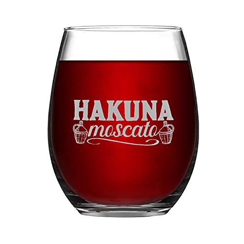 Copa de vino Hakuna Moscato sin tallo, grabado con láser, para whisky, idea única para el día del padre, 15 onzas