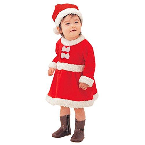 LAEMILIA Robe Mini Soirée Filles Enfant BéBé Infantile Chapeaux du Père Noël Ensemble Costume Déguisement Noël (90cm)