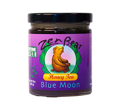 Zen Bear | Blue Moon | Herb Infused Organic Raw Honey Tea with Blueberry, Lavender, Maca, Red Raspberry Leaf, Red Clover | A treat for Blueberry and Honey Lovers | 8 oz jar