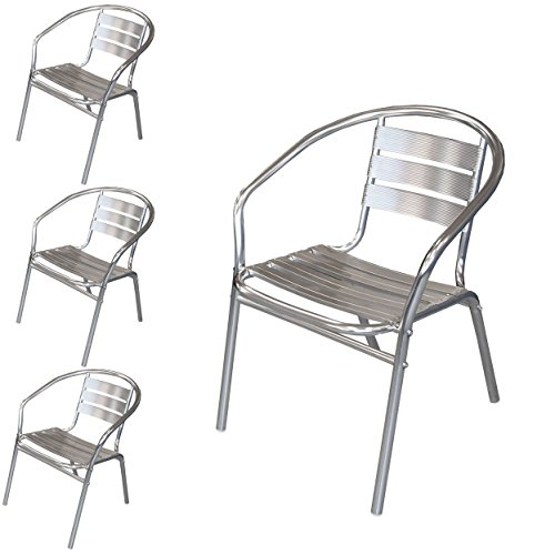 Wohaga® 4 Stück Bistrostuhl mit Armlehnen, Aluminium Silber, Stapelstuhl Gartenstuhl Balkonstuhl Terrassenstuhl Armlehnstuhl