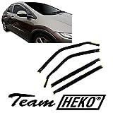 J&J Automotive - Deflectores de viento para Honda Civic 5 puertas 2005-2012, 4 unidades