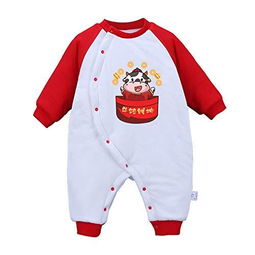 GHQYP Body Bebe Recien Nacido,Pelele Bebe Niña/Niño Invierno Adecuado para 0-15 Meses,Ropa de Bebé Abrigada con Vaca de Dibujos Animados,Red,80CM(9-12Months)