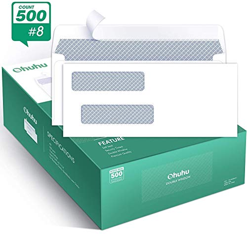 Ohuhu 500 Pack # 8 Double Window Envelope SELF Seal Adhesive Tinted Security Envelopes Quickbooks Check Business Check Documents Secure Mailing 3 5/8quot x 8 11/16quot White Envelope