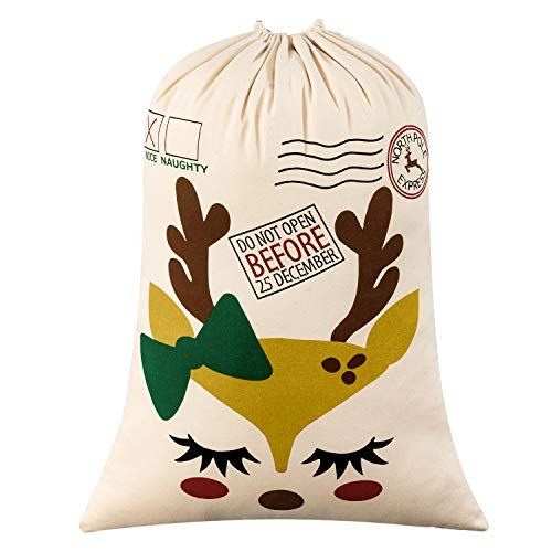 "Personalized Santa Sack,HBlife Santa Bag Xmas Gift Bag Cotton with Drawstring Size 19.7""x 27.6"" (White)"