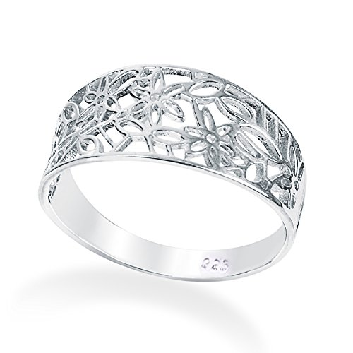 Solid 925 Sterling Silver Leaf Filigree Pattern ring in sizes G-Z comes Gift Boxed (W)