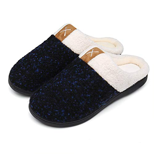 UBFEN Womens Mens Slippers Memory Foam Comfort Fuzzy Plush Lining Slip On House Shoes Indoor Outdoor Navy
