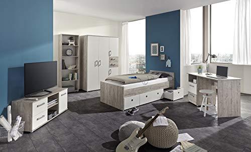 möbel-direkt Jugendzimmer Bente in Eiche Sand und Weiß 5 teiliges Komplettset mit Schrank, 90er Jugendbett, Schreibtisch, TV- Schrank und Standregal