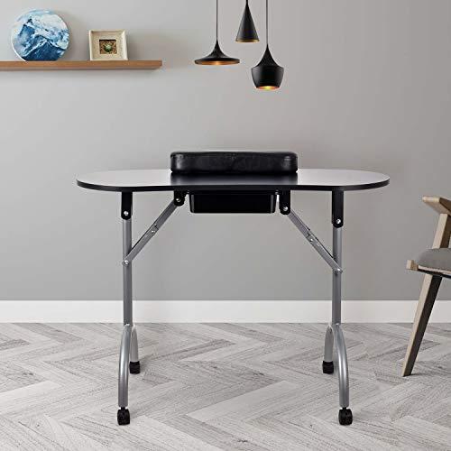 Portable Manicure Table Foldable Nail Beautician Desk Workstation Arm Rest & Drawer Salon Spa Nail...
