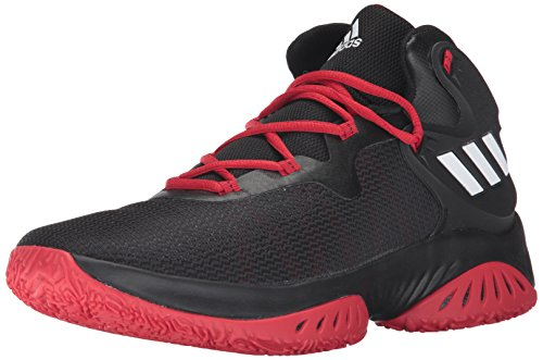 adidas Men's Explosive Bounce Basketball Shoes, Black/White/Scarlet, (9 M US)