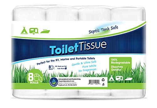 Freedom Living RV Toilet Paper (2-Ply, 8 Rolls, 500 sheets each) – Biodegradable Septic Tank Safe Rapid Dissolve Toilet Tissue for Camping, Marine, RV Holding