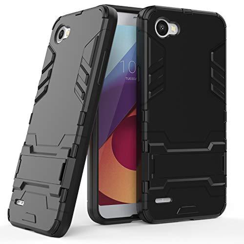 COOVY® Funda para LG Q6 de plástico y Silicona TPU, extrafuerte, con protección contra Golpes, Funda con función Atril | Color Negro