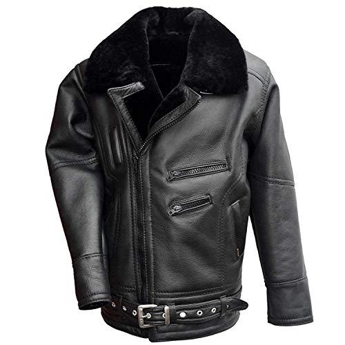 Hollert German Leather Fashion Lammfelljacke - VANDAMM Herren Lederjacke Felljacke Bikerjacke Größe 3XL, Farbe Schwarz
