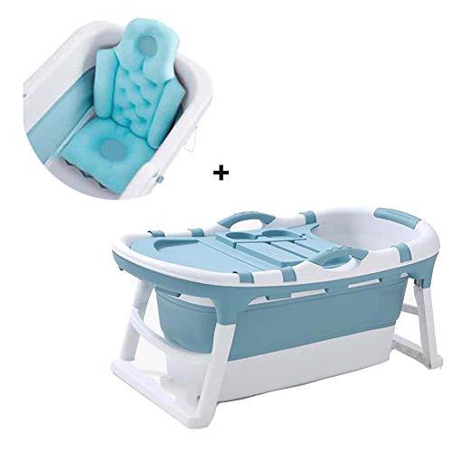 FCDWHJ 2-in-1 Baby Badewanne,tragbare zusammenklappbare Kleinkind Badewanne Faltbare Säugling Duschbecken Anti Slip Skid Proof mit Sicherheitsbadesitz babybadewanne für 0-5 Jahre,Blau