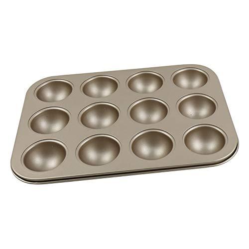 Kuchenform mit 12 Mulden, Halbkugeln, Karbonstahl, für Muffins, Kuchen, Schokolade, Cupcake oder Seife