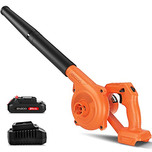 ENZOO Cordless Leaf Blower/Dust Vacuum 2in1 Designed for Light Yard Work and Hard Surface Sweeping Variable Speed MAX 20V Includes 20Ah LithiumIon Battery and Charger Orange
