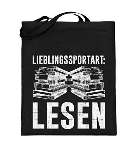 Chorchester Für Lese-Ratten und Bücher Fans - Jutebeutel (mit langen Henkeln) -38cm-42cm-Schwarz