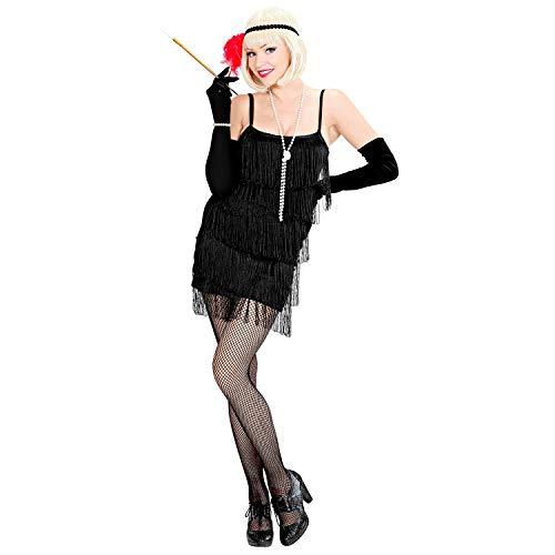 WIDMANN 39693 - Disfraz de Charleston, Vestido y Diadema, Vestido Negro con Flecos, Diadema de Lentejuelas con Pluma Negra, aos 20, Flapper