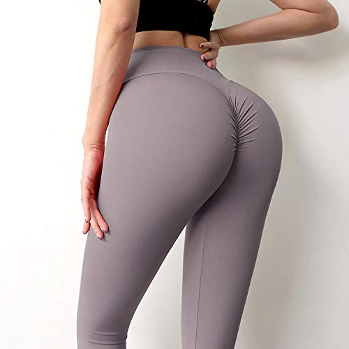 Gym Yoga Slim Fit Pants Largos Pantalones,Leggings de Mujer para Fitness Nylon Cintura Alta Pantalones Largos Hip Push Up Tights-Brown_M