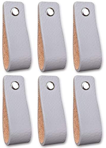 Ledergriffe Möbel | Hellgrau - 6 Stück | Ledergriff für Schränke, die Küche und Tür | Lieferung mit Schrauben in 3 Farben