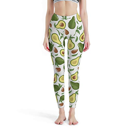 O1FHW-8 dames thema Capri Leggings Retro buikregulering avocado wit broek sport workout fitness thermolegging dames - grappig puur