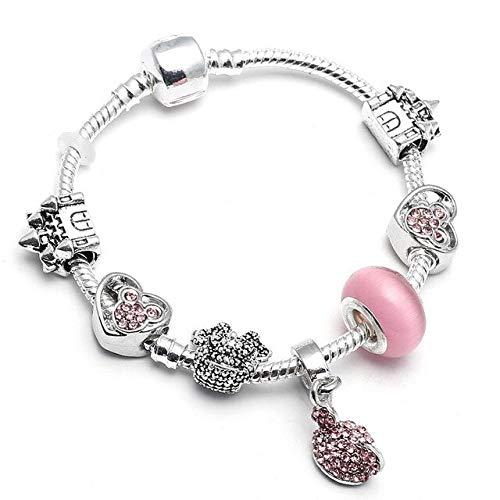 YGONG Cute Kitty Charm Bracelet with Pink Angel Girl Beads Pulsera Fina para Mujeres Niños Regalo de joyería de Moda 16cm 002