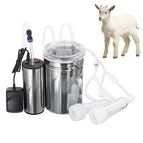 Goat Milking Machine Kit for Sheep Portable Electric Milker Milking Machine with 2 Teat Cups, Adjustable Vacuum Pump Food Silicone Grade Hose 2L