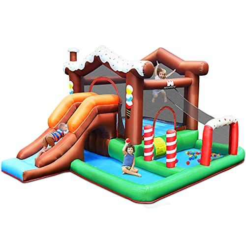 GOPLUS Casa Gonfiabile per Bambini, Castello Gonfiabile con Scivolo, Facile da Trasportare, con Rete Protettiva e Accessori Completi, in Tessuto Oxford, 380x330x220 cm