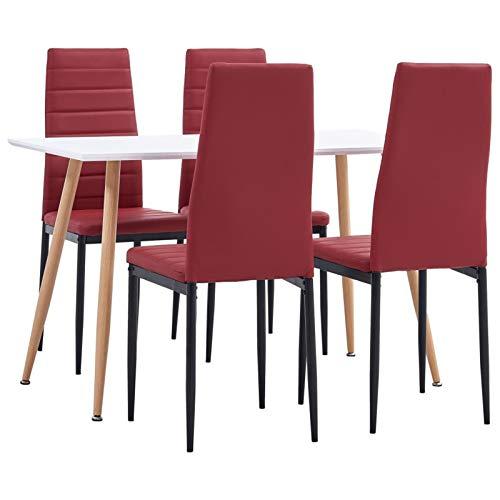 Tidyard Mesa Salón y Sillas,Muebles de Jardin Exterior Conjuntos Juego de Comedor 5 Piezas Cuero sintético Rojo Burdeos