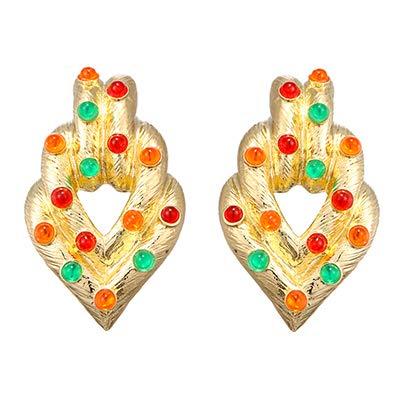 NOBRAND Pendientes De Mujer Pendientes De Botón Geométricos Coloridos De Resina Cristalina Aleación De Zinc