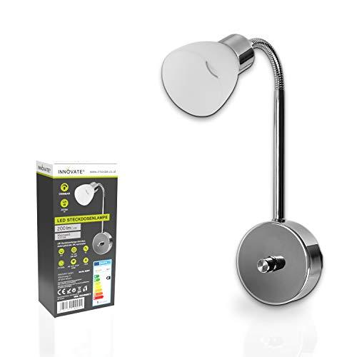 INNOVATE - Dimmbare LED Steckdosenlampe, nickel gebürstet, 3W, warmweiss, mit flexiblen Schwanenhals sofort Einsatzbereit - Wandleuchte, Nachtlicht, Leselampe, Arbeitsleuchte