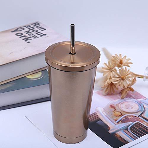 Frasco de vacío, taza de café, taza de viaje de moda, pajita de acero inoxidable, fácil de transportar, saludable y no tóxico, se puede usar como regalo-dorado_800 ml