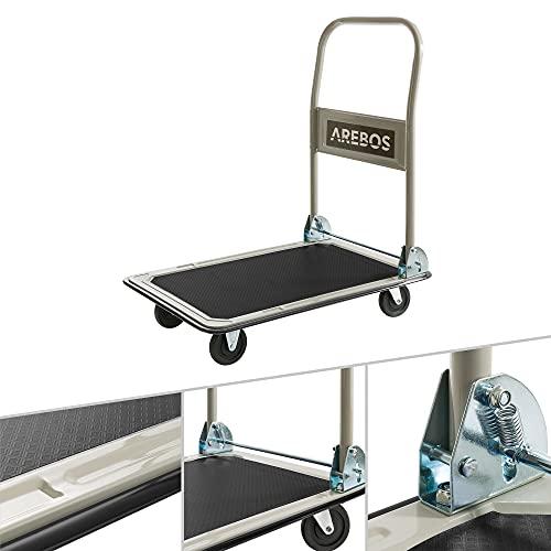 Arebos Plattformwagen | bis 150 kg belastbar | klappbar | mit Lenkrollen | Antirutschbeschichtung | Kantenschutz