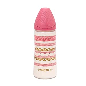 Suavinex, Biberón con tetina redonda boca ancha de silicona, para bebés +4 meses, Rosa Oscuro, 360 ml