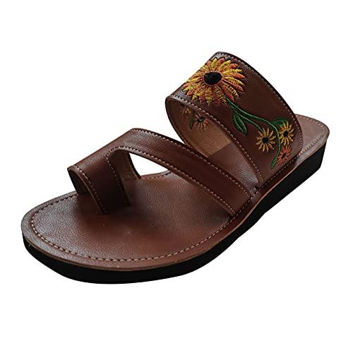 Damer tåseparator broderade skor broderi tofflor strand strand sandal lätt bekväm sommar fritidsskor, - 1 brun brun - 38 EU