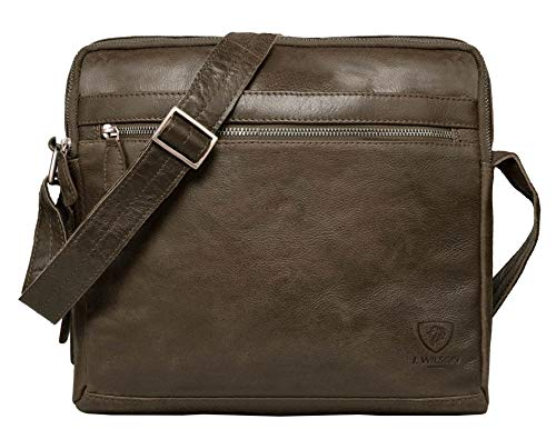 100% Pure Genuine Real Vintage Vegetable Tanned Leather Handmade Mens Womens Leather Flapover Everyday Cross Body Shoulder Work iPad Messenger Bag (Dark Brown)