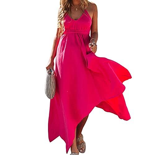 SLYZ 2021 Summer Solid Color V-Neck Halter Lace Irregular Dress Women Red