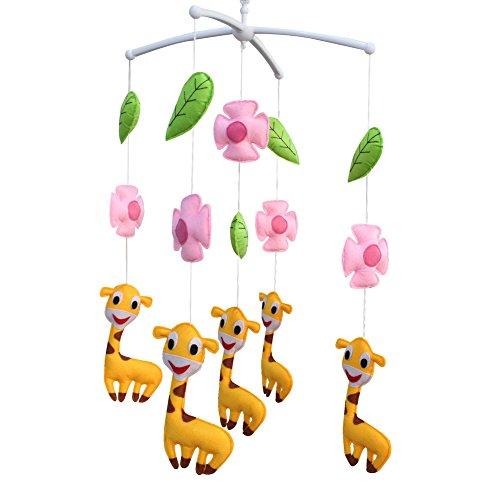 [Fleurs roses et jolie girafe] Joli jouet fait main, mobile musical