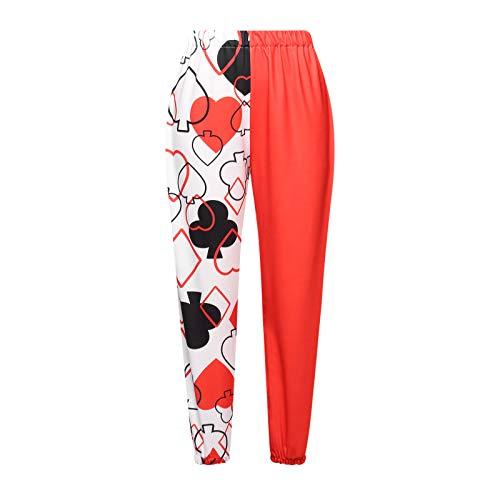 Nokiwiqis Harem Hippie Pantalones Boho Harem Yoga Pantalones para Mujer con Bolsillos, rojo y blanco, L