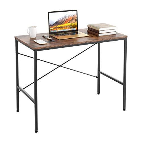 Homfa Schreibtisch Computertisch Arbeitstisch Bürotisch Holz Metall stabil für Wohnzimmer, Büro, Office, Arbeitszimmer, Gaming im Industrie-Design Vintage Groß 100x52x76cm