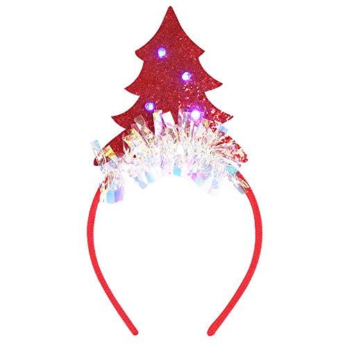 Hothap Adult - Fascia Per Capelli Con Luci LED A Forma Di Albero Di Natale, Con Glitter