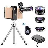 Apexel Phone Lens Kit 6 in 1, 22X Telephoto Lens, 205° Fisheye Lens, 120° Wide Angle Lens & 25X...