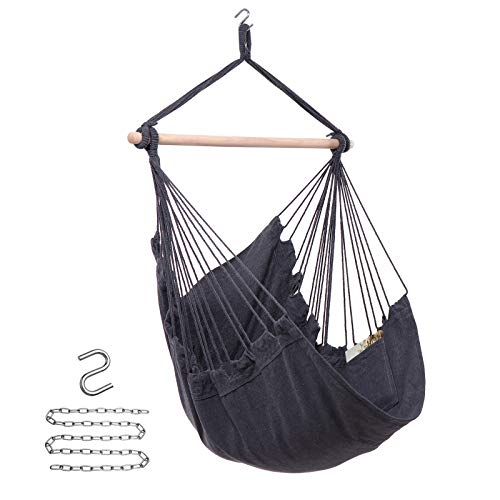 Y- STOP Hammock Chair Hanging Rope Swing - Max 330 Lbs - Quality Cotton Weave for Superior Comfort & Durability (Grey)
