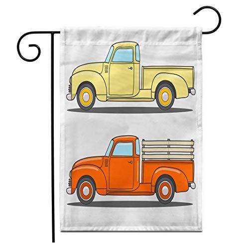 12,5 'x 18' Gartenflagge Satz Farbe Retro Pickup Truck Doodlefood Foodtruck Kaffee Sommer Vintage Grafik Outdoor Doppelseitige dekorative Haus Hof Flaggen