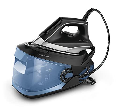 Rowenta VR8321, Turbosteam, Generatore di vapore, Pressione della pompa da 6,5 bar pump, colpo vapore da 350 g/min, Piastra MicroSteam400, funzione anitcalcare, design compatto, Modalità Eco, Nero/Blu
