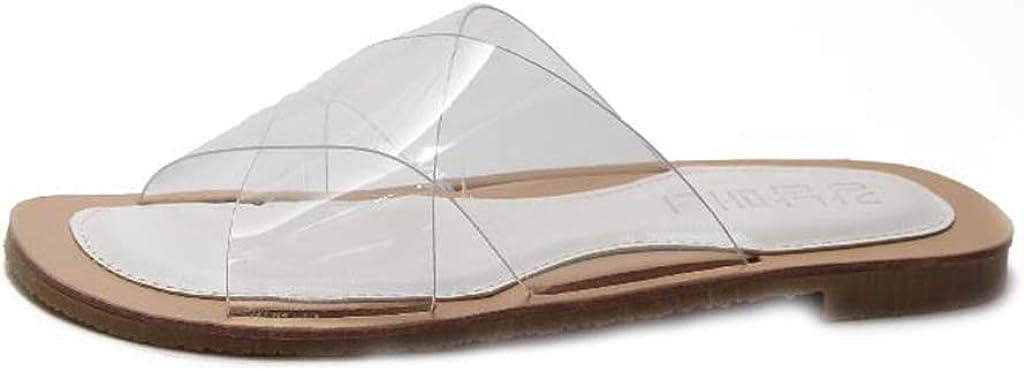 MIOKE Women's Clear Flat Slide Sandals Slip On Transparent Comfort Anti-slip Summer Beach Slippers Sandal