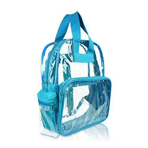 DALIX Kleiner Rucksack, transparent, Schwarz, Lila, Königsblau, Pink, Gold, Grau, Grün, Rot, Blaugrün Gr. Small, blaugrün