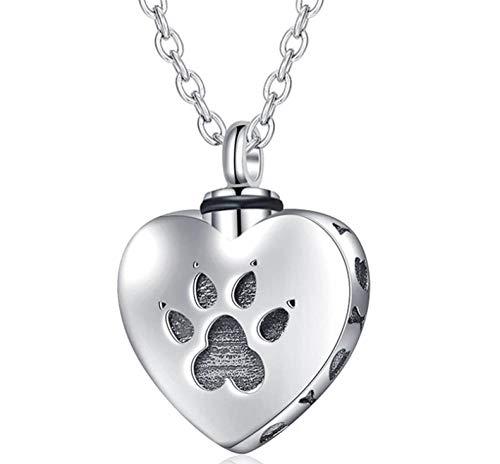 PicZhiwenture Collar de Recuerdo para Mascotas, Huella de Perro, Amuleto, Estampado de Pata, urna Conmemorativa Redonda, joyería para Cenizas de cremación