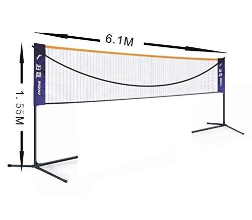 WANGXL 6,1m Badminton-netset, draagbaar, tennisvolleybalnet, in hoogte verstelbaar, kindervolleybal voor tuin, school, achtertuin, strand