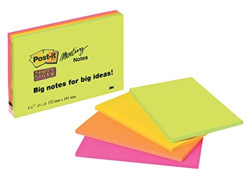 Post-it,45 Foglietti Adesivi Xl Super Sticky, Blocco Fogli Adesivi per Sale Riunioni,Confezione da 4 Blocchetti,Colori Neon,101 X 152 Mm